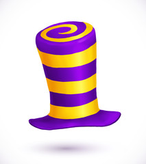 Violet and yellow colors striped realistic vector carnival hat