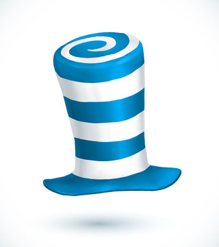 Blue and white colors striped realistic vector carnival hat