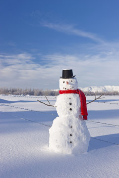 Snowman wearing a red scarf and black top hat standing in fresh snow on a sunny day;Palmer alaska united states of america