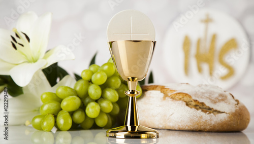 holy communion bread wine for christianity religion stock photo