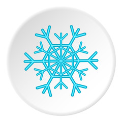 Snowflake icon in cartoon style on white circle background. New year symbol vector illustration