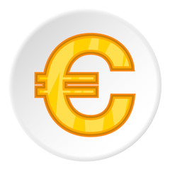 Sign of money euro icon in cartoon style on white circle background. Currency symbol vector illustration