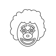Circus clown icon in outline style isolated on white background vector illustration