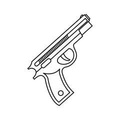 Pistol gun icon in outline style isolated on white background vector illustration