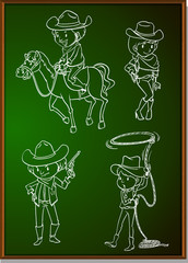Cowboys and cowgirls on blackboard