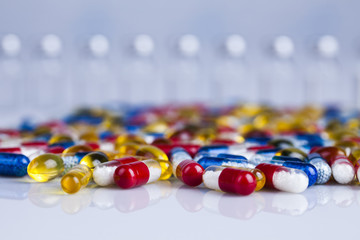 Healthy, Close up of Pills, Tablets, Capsule, Medical background