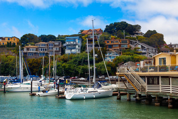 Tiburon, California waterfront upscale town by San Francisco