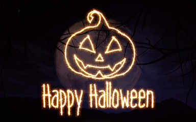 Fototapete - 3D Sparkle effect Halloween background