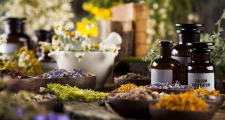 Obraz Alternative medicine, dried herbs and mortar on wooden desk back - fototapety do salonu
