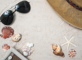 TOP VIEW SAND BACKGROUND WITH SHELL ,STARFISH,SUMMER TIME TRAVEL CONCEPT
