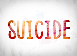 Suicide Concept Watercolor Word Art