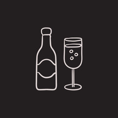 Champagne bottle and two glasses sketch icon.