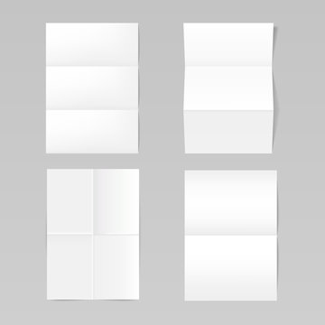 Folded realistic blank sheets of paper mockup