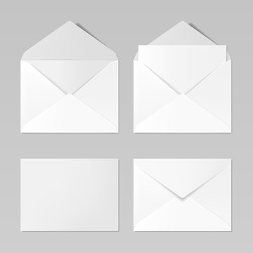 Set of blank realistic envelopes mockup