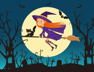Cute little girl witch with a kitten flying on a broom