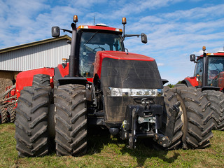 Agricultural giant red tractor