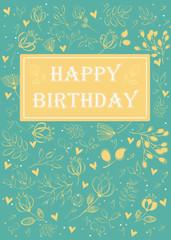 Happy birthday. Floral greeting card