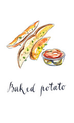 Baked potatoes with tomato ketchup