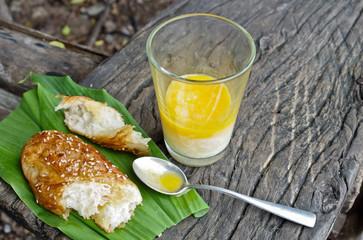 sesame bread with soft boiled egg