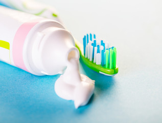 toothbrush with toothpaste close-up