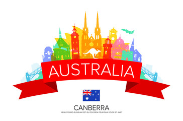 Australia Travel Landmarks. Vector and Illustration