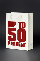 white shopping bag up to 50 percent