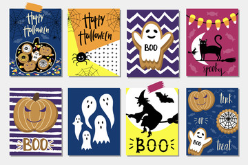 Halloween Cards set. Template for Party card, Greeting Scrapbooking, Congratulations, Invitations, Stickers.