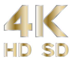 4k , hd , sd , tv Icon vector gold version