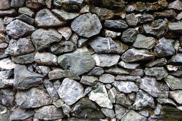 Real stone wall texture background stacked layers are uneven
