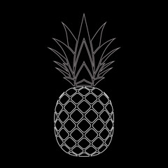 Pineapple white icon. Tropical fruit isolated on black background. Symbol of food, sweet, exotic and summer, vitamin, healthy. Nature logo. Flat concept. Design element Vector illustration