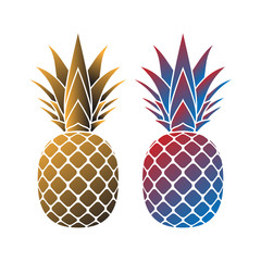 Pineapple with leaf icons set. Tropical fruits isolated on white background. Symbol of food, sweet, exotic summer, vitamin, healthy. Nature logo. 3D concept. Design element Vector illustration