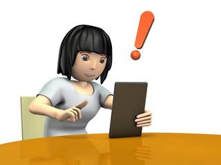 タブレットPCで検索する若い女性