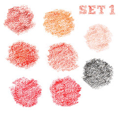 Set 1 of dry pastel polka dot circles pattern