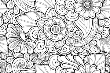 Seamless ornamental black and white pattern with stylized abstract flowers.