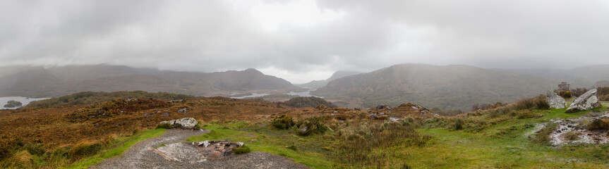 Autumn mountain landscape after rain. Killarney National Park, Ireland