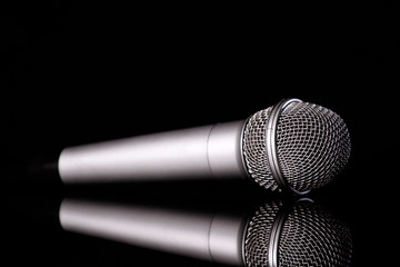 microphone isolated on black baground