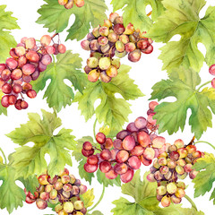 Seamless pattern - grape, vine, leaves on white background. Watercolour