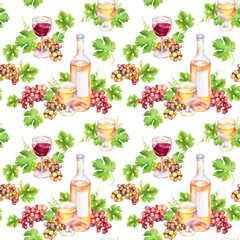 Seamless pattern. Wine glass, bottle, vine leaves, grape berries. Watercolor