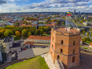 Vilnius, Lithuania: aerial top view of Upper or Gediminas Castle