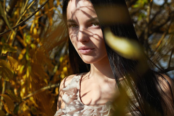 lifestyle Outdoor fashion young beautiful woman. autumn girl walking in forest