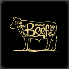 Vector beef meat label