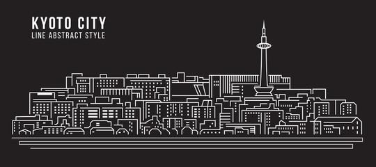 Cityscape Building Line art Vector Illustration design - Kyoto city