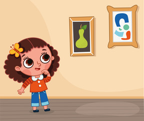 Illustration of little girl checking paintings. (Vector illustration)