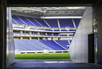View of football stadium from tunnel