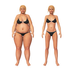 Woman Fat to Thin Weight Loss Transformation