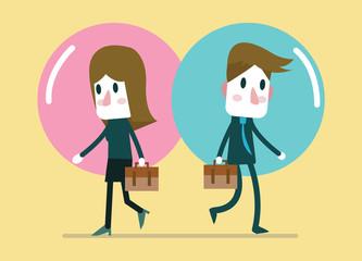 Business people in comfort zone balloon. Egoism, relationship. flat design vector