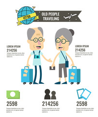 Elderly travel and tourism infographic. flat character design. vector