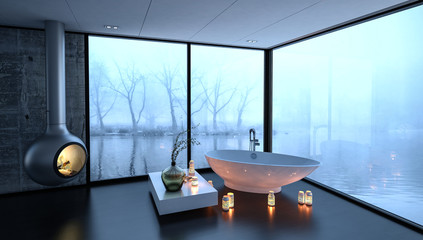 Bathtub surrounded by fireplace and candles