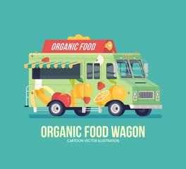 Colorful vector organic food truck. Street cuisine. Fruit and vegetables truck. Vegetarian and vegan diet nutrition. Modern flat illustration.