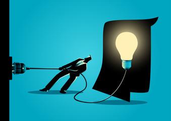Businessman trying to unplug the light bulb brain